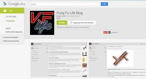 Applicazione Kung Fu Life Blog